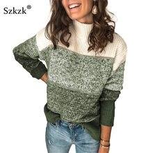 Szkzk de bloque de Color de punto suéter suelto Pullover mujer Jersey Otoño Invierno Patchwork manga larga cuello alto Jersey Sexy
