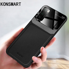 KONSMART Case For Huawei Honor V30 Pro Luxury Shockproof Leather Silicone Mirror Phone Case For Huawei Honor V30 V20 V10 Cover aurora luminous phone case for huawei honor view v30 v20 v10 night shine bcak cover for honor v30 dazzle colour glass case coque