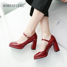 ROBESPIERE Autumn Women Mary Janes Shoes Classics Buckle Strap Shallow Mouth Pumps New Party Wedding Large Size A44