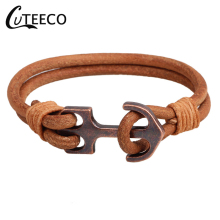 CUTEECO Anchor Bracelets MKENDN Mens Stainless Steel Shackles Black Leather Bracelet Men Wristband Fashion