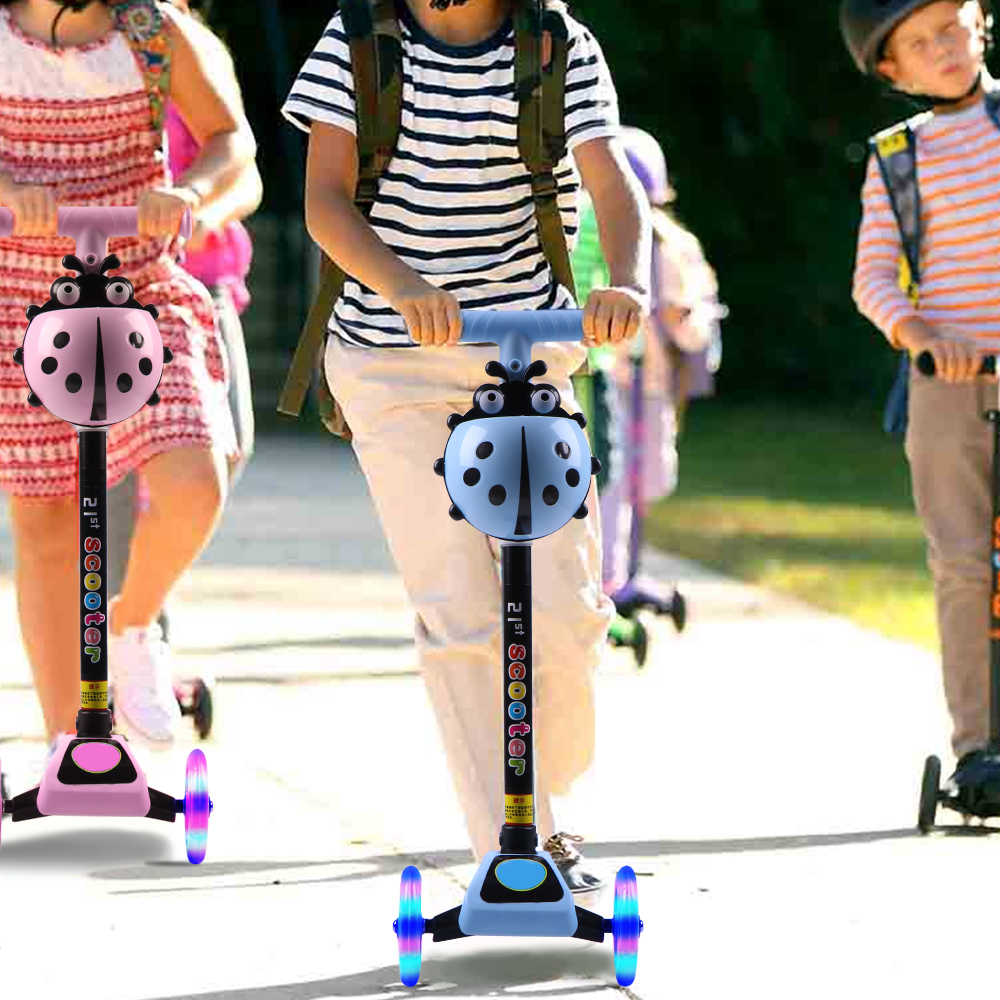 Scooter Kick 3-Wheel Kick Scooter Children Foot Scooters Adjustable Height With LED Light Up Wheels kids Skateboard
