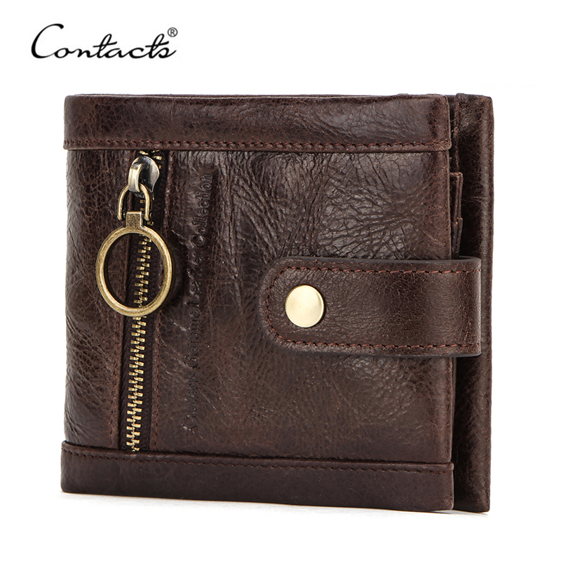CONTACT'S Genuine Leather Men Wallet Coin Purse Male Small Card Holders Rfid Wallets Hasp Design Casual Portfel Zipper Pocket