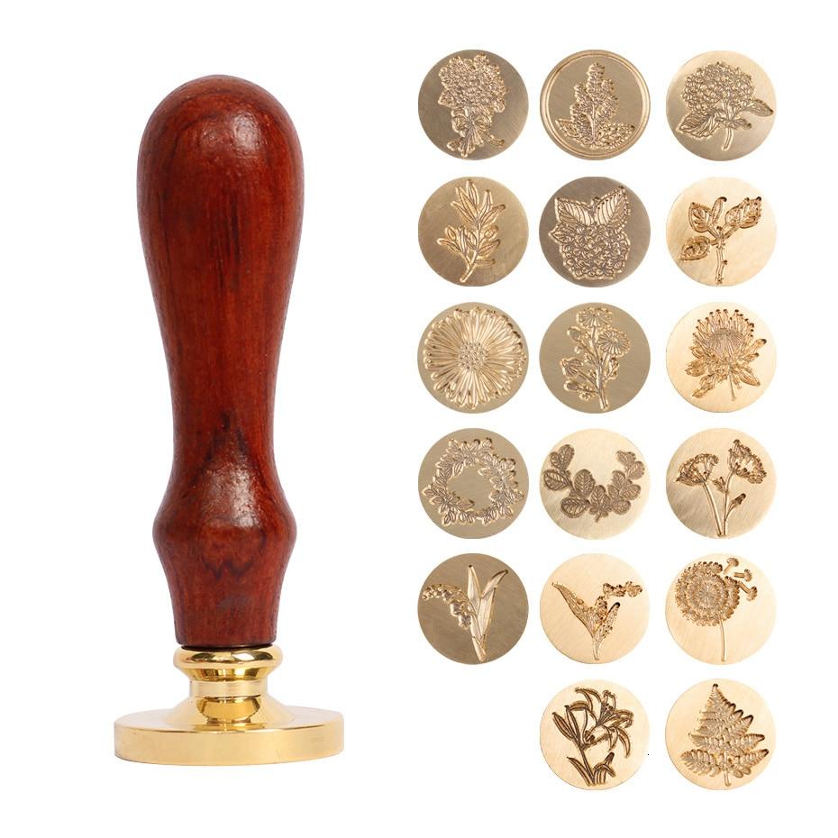 1pcs Plant Seal Flower Seal Wax Seal Stamp Retro Antique Sealing Wax Scrapbooking Stamps HEAD Wedding Decorative Invitation