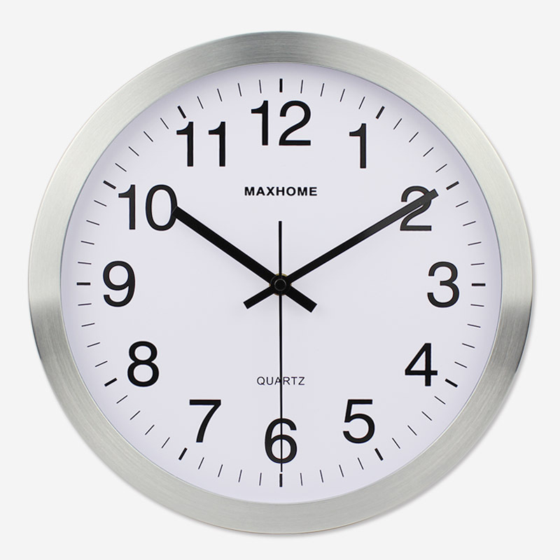 Living Room Metal Mute Wall Clock Home Electronic Quartz Clock Simple European Style Office Clock Circle New Style Clock