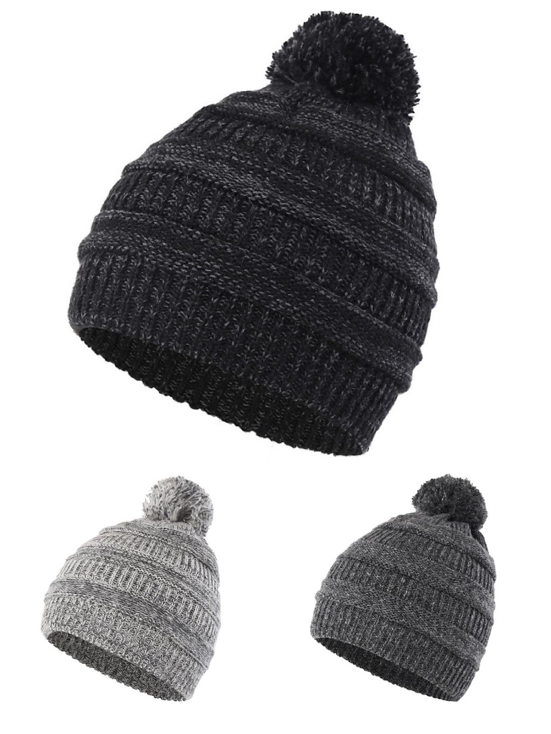 Men/'s Ladies Thermal Insulation Kitted Warm Winter Hiking Chunky Beanie Hat