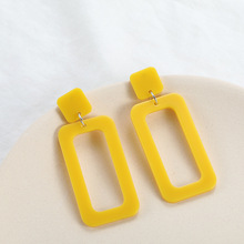 The New Gold Fringed Earrings for Womens Rectangular Pendant Fashion Jewelry Statement Geometry