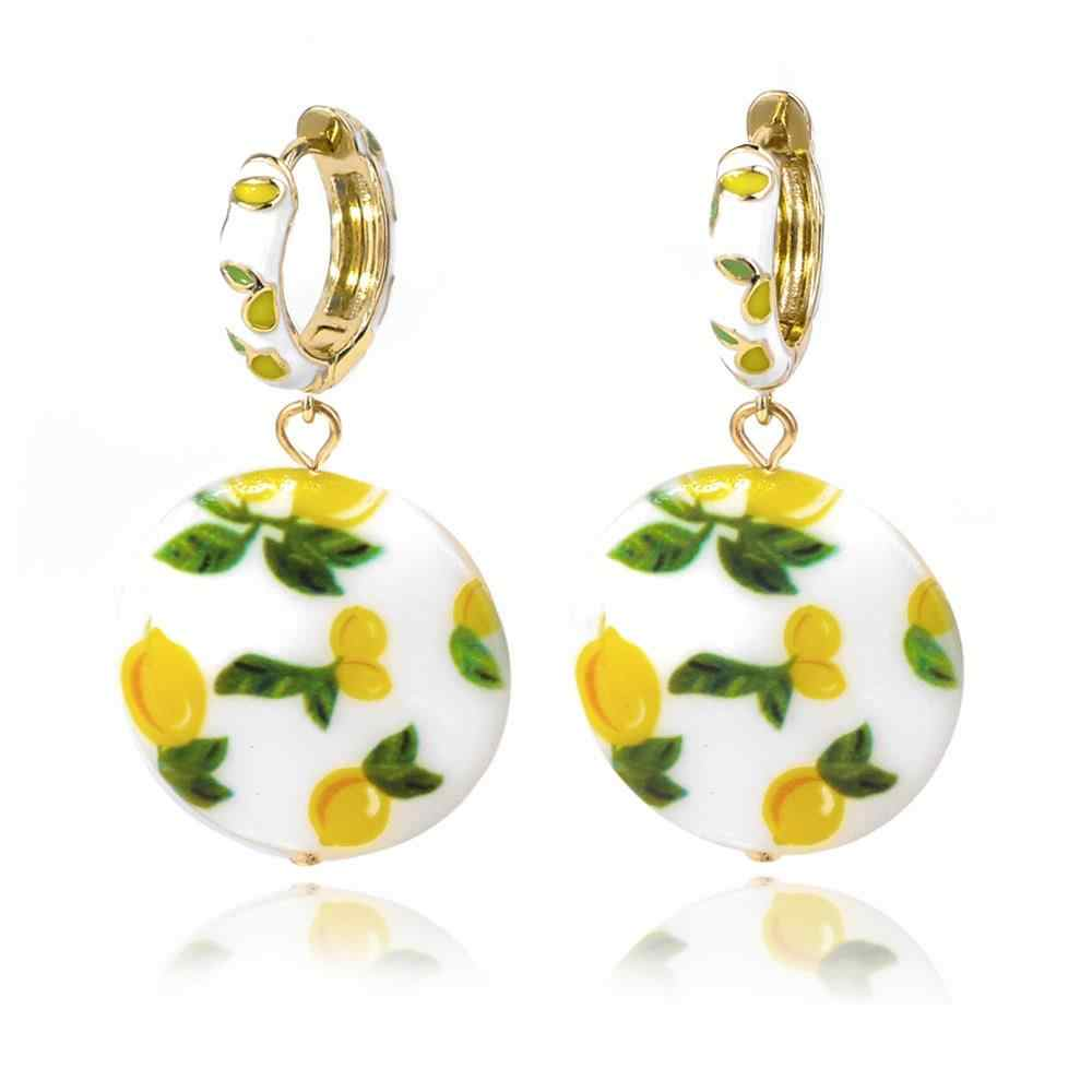 2019 Women Fashion Shell Print Drops Earrings Creative Pepper Lemon Pearl Earrings Pendant Earrings Bohemian Earrings