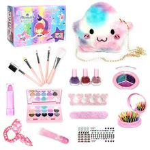 Kids Play Fashion Cosmetics Toy Make Up Set Safe Washable Children's Makeup Box Princess Beauty Pretend Play Toys For Girl Kids