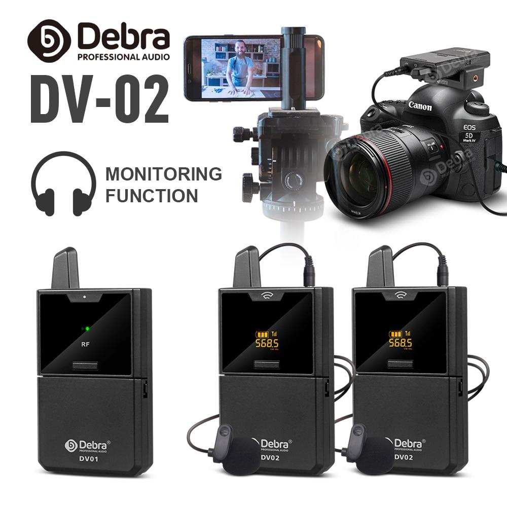 Micrófono Lavalier inalámbrico DV01/02 con función de Monitor de Audio UHF micrófono de solapa inalámbrico para Smartphones DSLR cámaras webcast