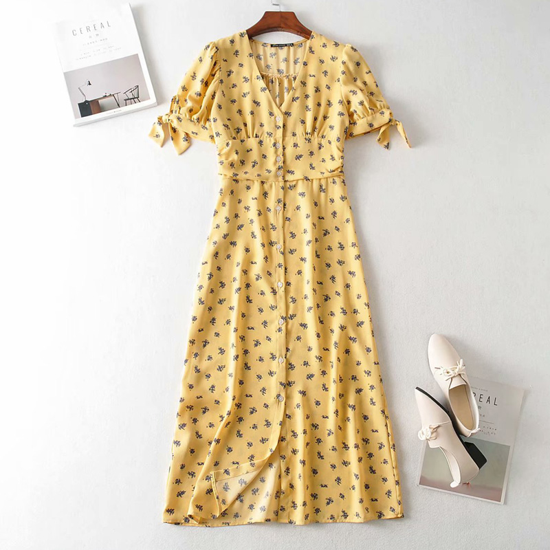 Elegant French Style Women Vintage Yellow Print Dress Puff Sleeve With Bow Front Buttons Ladies Chic Casual Open Hem Dresses