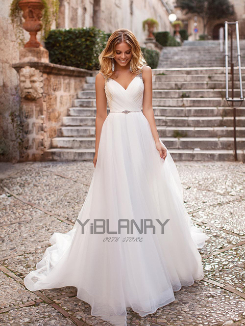 Luxury Wedding Dress Tulle And Beading With A-line V-neck Sleeveless Spahrtti Strap Bride Dresses Backless Button Plus size 1
