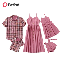 Dresses-Rompers-Lattice Matching Mosaic Family Patpat Summer Tank Pink Solid Cotton Tops