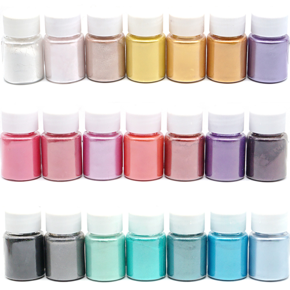 21 Colors Pearl Pigment Powder Mica Pearlescent Colorants Resin Dye Jewelry Making Tool For Jewelry Accessories Art Supplies
