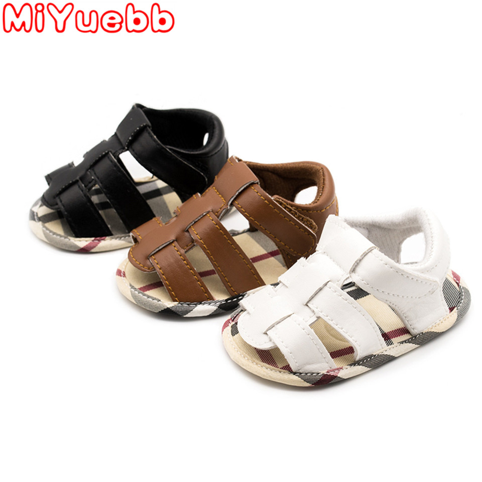 Children Casual Sandals 0-18 Months Toddler Solid Color PU Material Sandals 2020 Summer Fashion Baby Girl&Boy Flat Heel Sandals