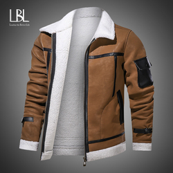 Eur/US Size Mens Casual Faux Fur Leather Jacket Motorcycle PU Coats Winter Outerwear Men Fur Collar Jackets Male Brand Clothing