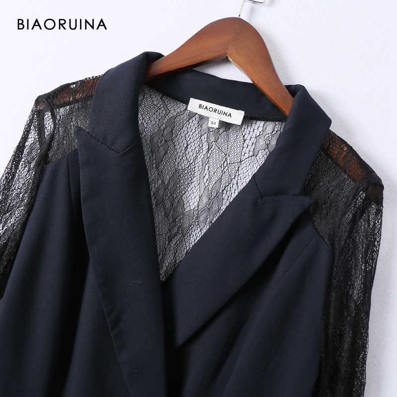 BIAORUINA женский темно-синий двубортный элегантный Длинный блейзер с кружевным швом черного цвета, офисный женский тонкий модный Блейзер платье