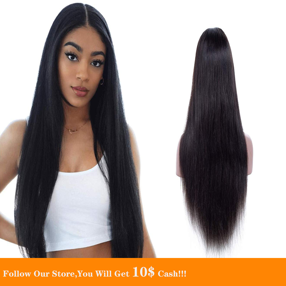 Peruvian Long Straight Black Hair Wig 13×4 Lace Frontal Human Hair Wigs 24 Inch Remy Natural Hairline Glueless Closure Wig
