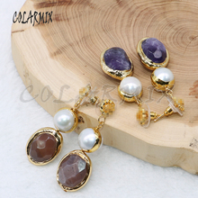 3 pairs natural stone earrings mix colors stone with pearl plated golden color dangle earrings wholesale jewelry 4724
