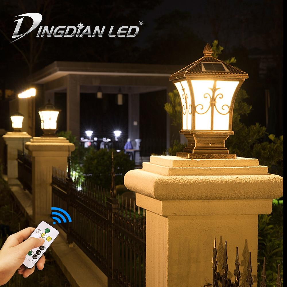 Ao ar livre de controle remoto solar luz do jardim lâmpada ferro ip65 à prova dwaterproof água 3 cor mudando para o uso quintal ao ar livre dingdian lanterna