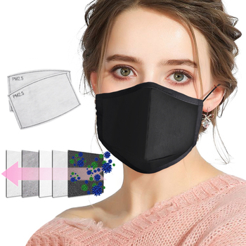 DWTS PM2.5 Cotton  Black mouth Mask anti dust mask Activated carbon filter Windproof Mouth-muffle bacteria proof Flu Face masks