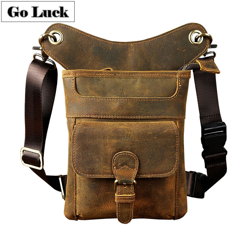 GO-LCUK Brand Genuine Leather Men's Shoulder Messenger Bags Leg Thigh Waist Gun Packs Cell Phone Pouch Case Casual Travel