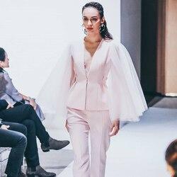 ADYCE 2019 Neue Winter Rosa Promi Abend Landebahn Partei 2 Zwei Stück Set Sexy V-ausschnitt Langarm Mantel & hosen Spitze Club-Sets