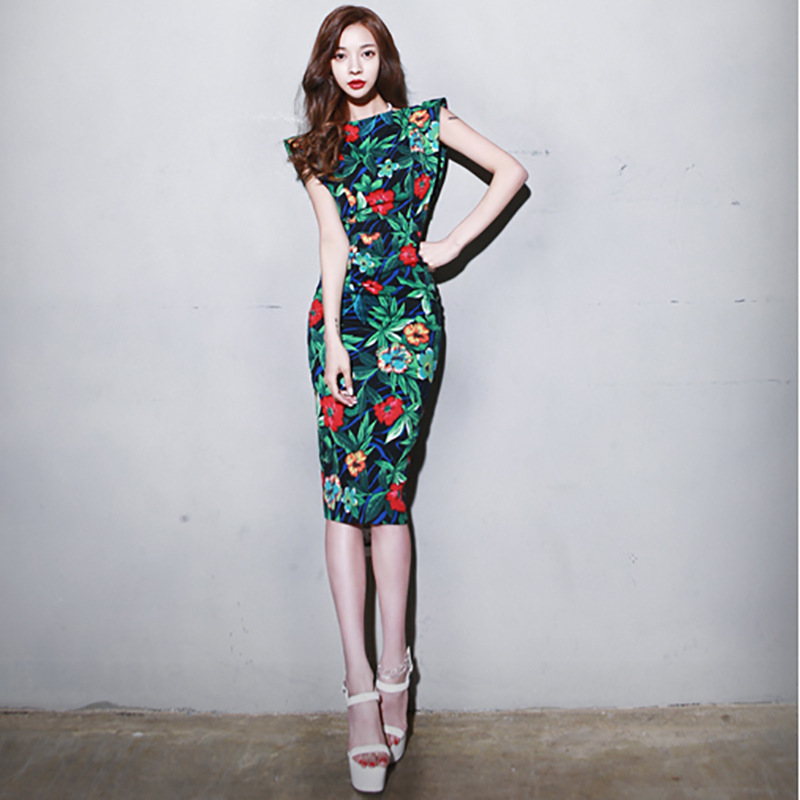 Women's 2019 summer new Korean version of the thin slit print holiday dress Knee-Length  Zippers  Short