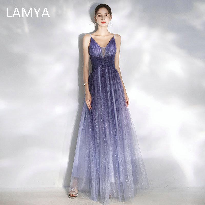 LAMYA Robe De Soiree New Sexy Spaghetti Straps V-Neck Long Evening Dresses Elegant Tulle Abendkleider 2019 Luxury Prom Dress