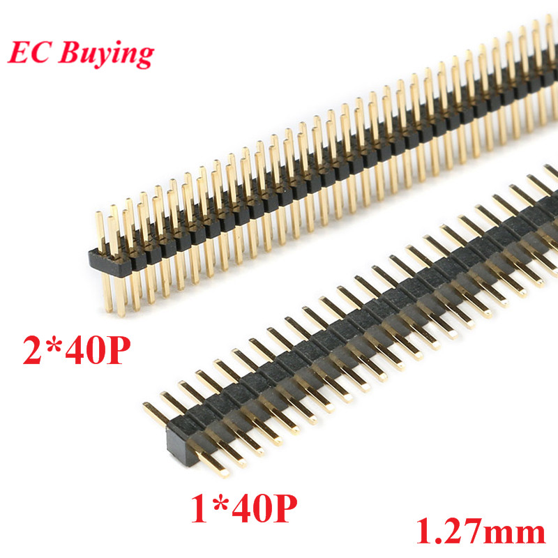 10pcs 1.27mm 1*40 2*40 Pin Header Male Pitch Male Single/Double Row Pin Header Strip Gold Plated Copper Connector 1x40P 2x40P