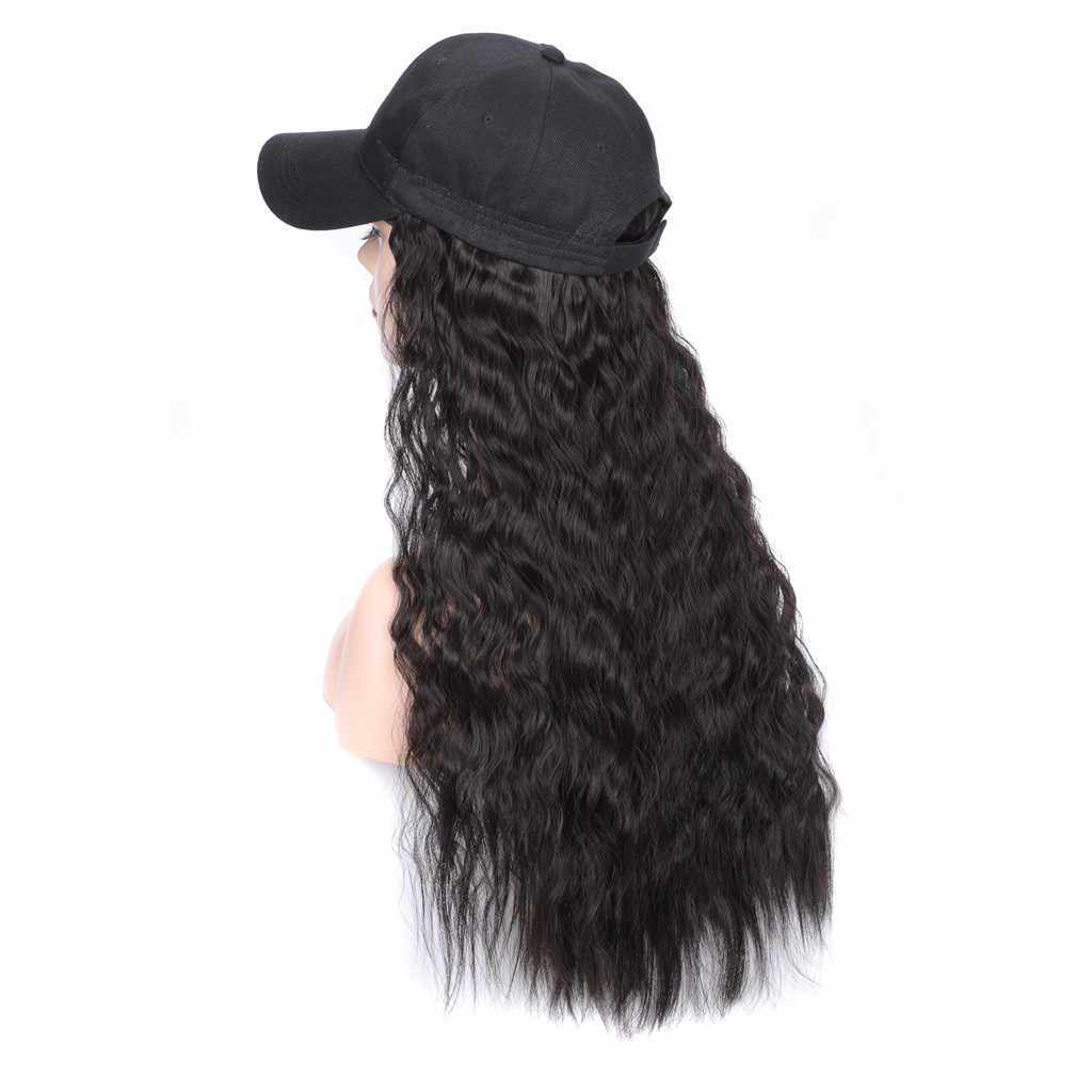 Baseball Cap Hat Wig Wavy Curly Long Synthetic Hair Hat Hairpiece Wigs For Women Loose Curly Hair Makeup Wigs 60cm