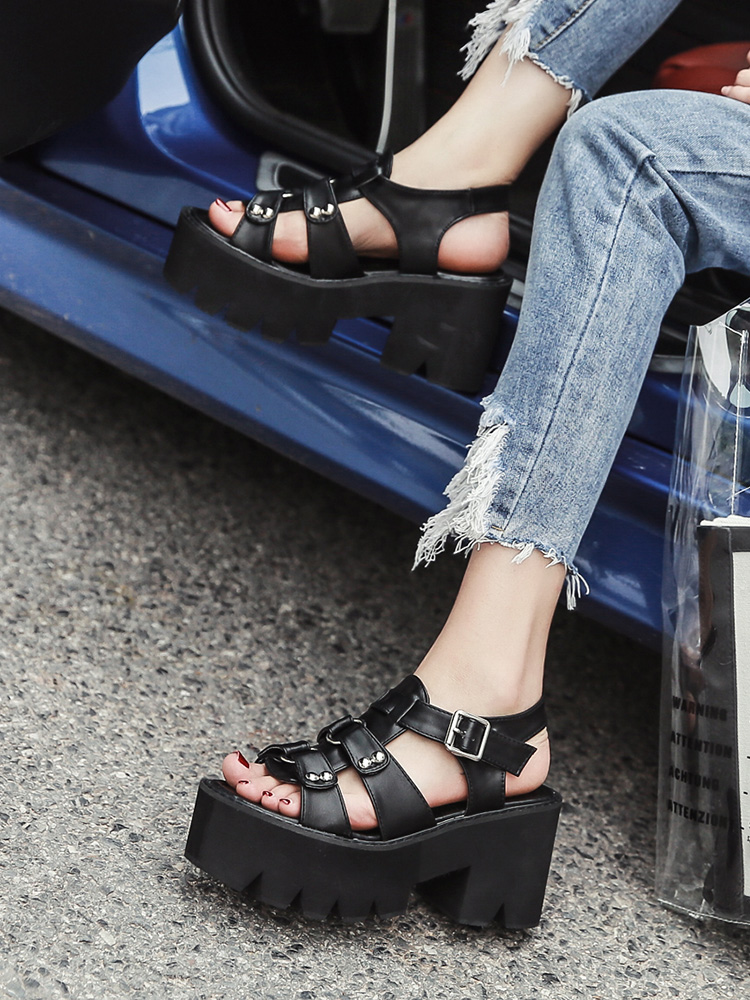 Gdgydh Punk Shoes Heel Platform Rivet Sandals Woman Female-Block Summer Open-Toe Fashion