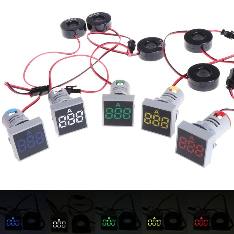 22 мм 0-100A цифровой амперметр индикатор Тока светодиодные лампы квадратный сигнальный свет оптовая продажа и Прямая поставка