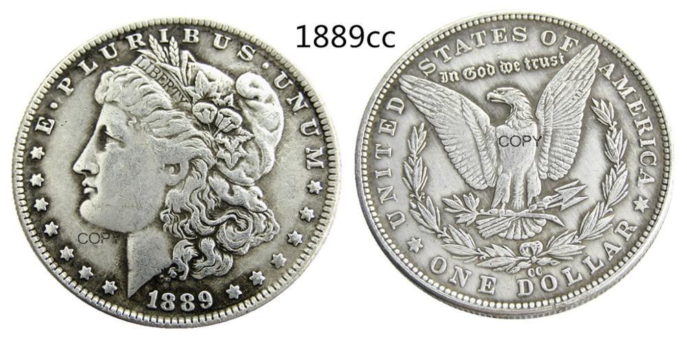 米国 1889-CC モルガン · ドルコピーコイン銀メッキ