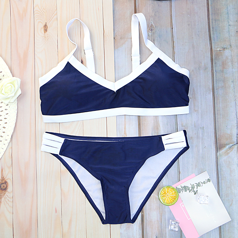 2020 New Girls Bikinis Set Bikini Swimwear Woman Swimsuit Solid Print Low Waist Thong On Sale Wholesale Black White Darck Blue