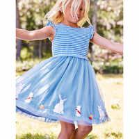 Vestidos infantiles para niñas, conejito, conejo, estampado a rayas, vestidos de princesa, mangas voladoras, vestido de tul para chicas, Ropa para Niñas