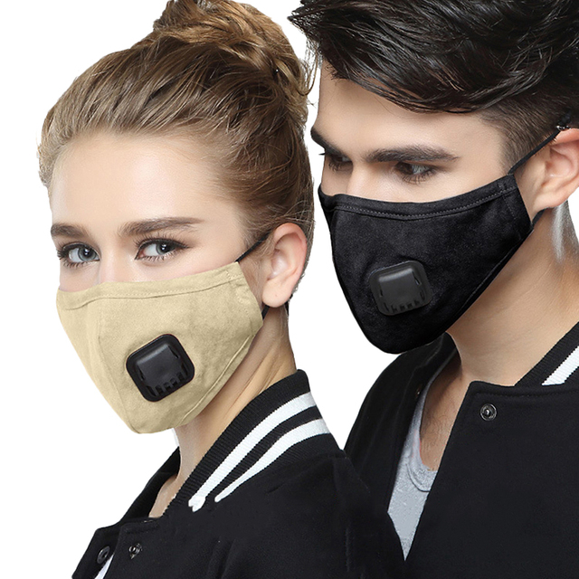 KN95 Anti Dust PM2.5 Flu Mouth Mask Filter Respirator Breath Valve Black Masks Cotton Washable Face mask Man Women 1