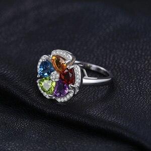 Image 3 - JPalac Flower Natural Amethyst Citrine Garnet Peridot Topaz Ring 925 Sterling Silver Rings for Women Silver 925 Gemstone Jewelry