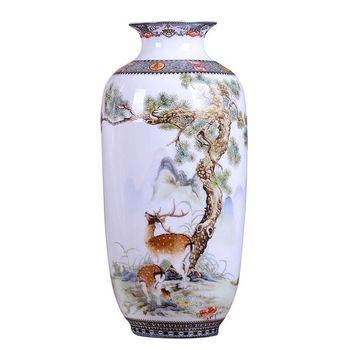 Jingdezhen ceramiczny wazon Vintage chiński styl zwierząt wazon grzywny gładka powierzchnia dekoracji wnętrz artykuły wyposażenia wnętrz A610 tanie i dobre opinie Tradycyjny chiński Ceramiki i porcelany Blat wazon Ceramic vase Countertop vase Desktop Decor Craftwork Chinese style Light luxury
