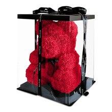 O transporte da gota 40cm urso de pelúcia vermelho da flor de rosa artificial caixa de presente de natal para o presente do dia dos namorados feminino urso de pelúcia