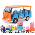 Peppa Pig Toys Car School Bus George Pig Friends Family Action Figure Anime Toys Sightseeing Car Simulation House for Kid Gifts