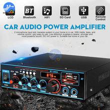 AMPLIFICADOR DE POTENCIA DE Audio para coche, reproductor de música HIFI, AUX, FM, USB, SD, con control remoto, 200W, Bluetooth 5,0, 2,0 canales, 100W + 100W