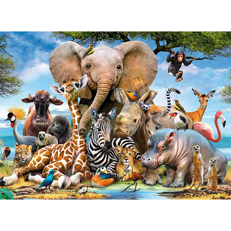 50*70cm 1000 Pcs Animals Jigsaw Jungle Scene Elephant Lion Animal Paradise Puzzle For Adults Assembling Puzzle Games Gifts
