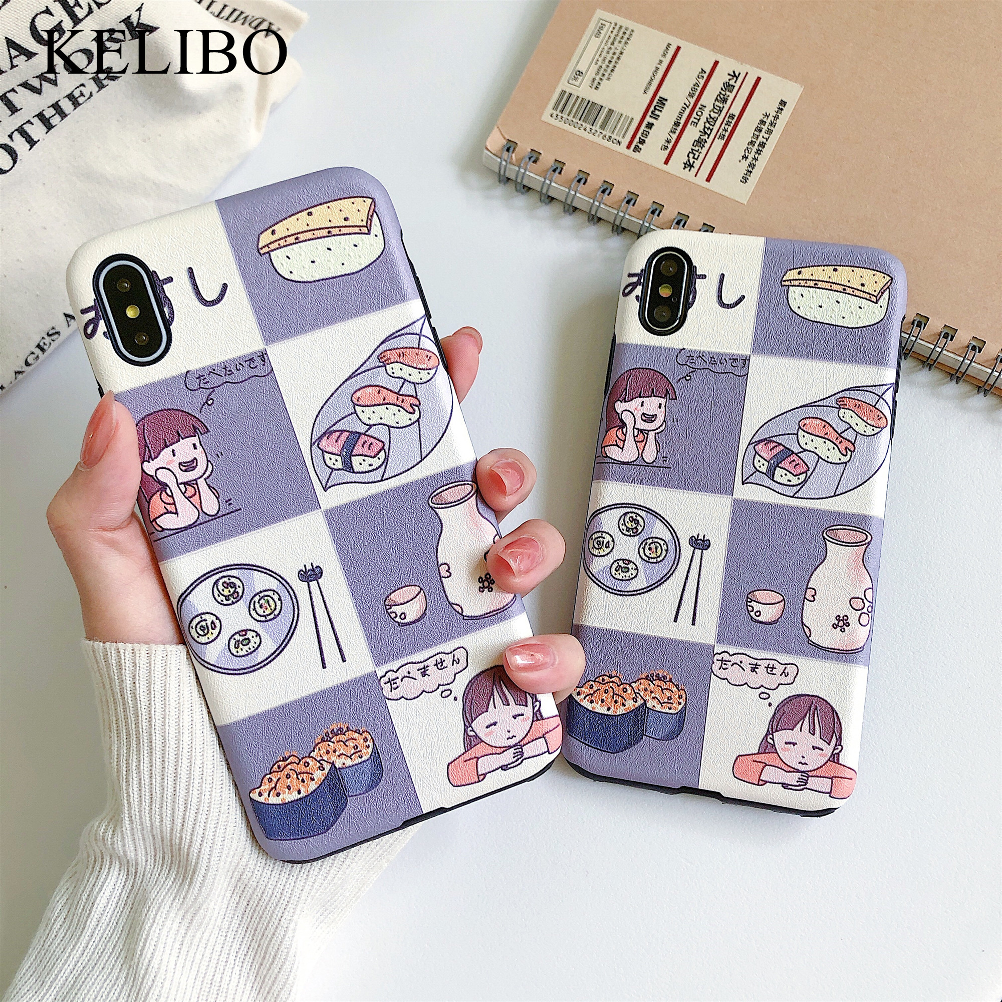 Kawaii Japanese anime illustration Phone Cases For iphone X XS Max XR Case <font><b>bts</b></font> Relief Cover For iPhone <font><b>6</b></font> 6s 7 8 Plus Fundas Capa image