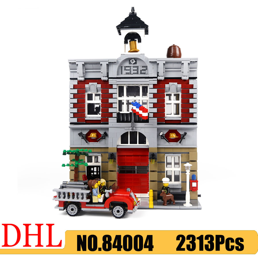 City Street View Series 15004 84003 Nostalgic Fire Station Model Building Blocks Compatible <font><b>10197</b></font> 2313Pcs Kids Toys Gift image