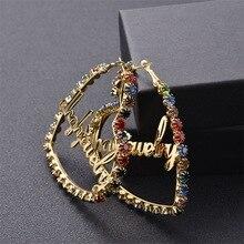 Colorful Custom Name Earrings Personalzied Zircon Hoop Earrings Stainless Steel Heart Customized Earrings Name Diamond Wedding