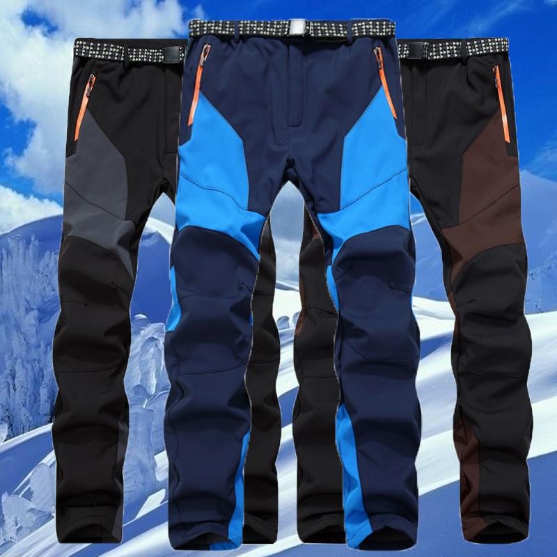 Men Winter Fish Warm Softshell Fleece Pants Ski Outdoor Sport Hike Trousers Camp Climb Trek Ski Mountain Male Waterproof Wear