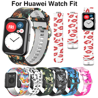 Nuovo cinturino in silicone con stampa a colori per Huawei Watch Fit Smartwatch cinturino di ricambio per accessori Huawei fit