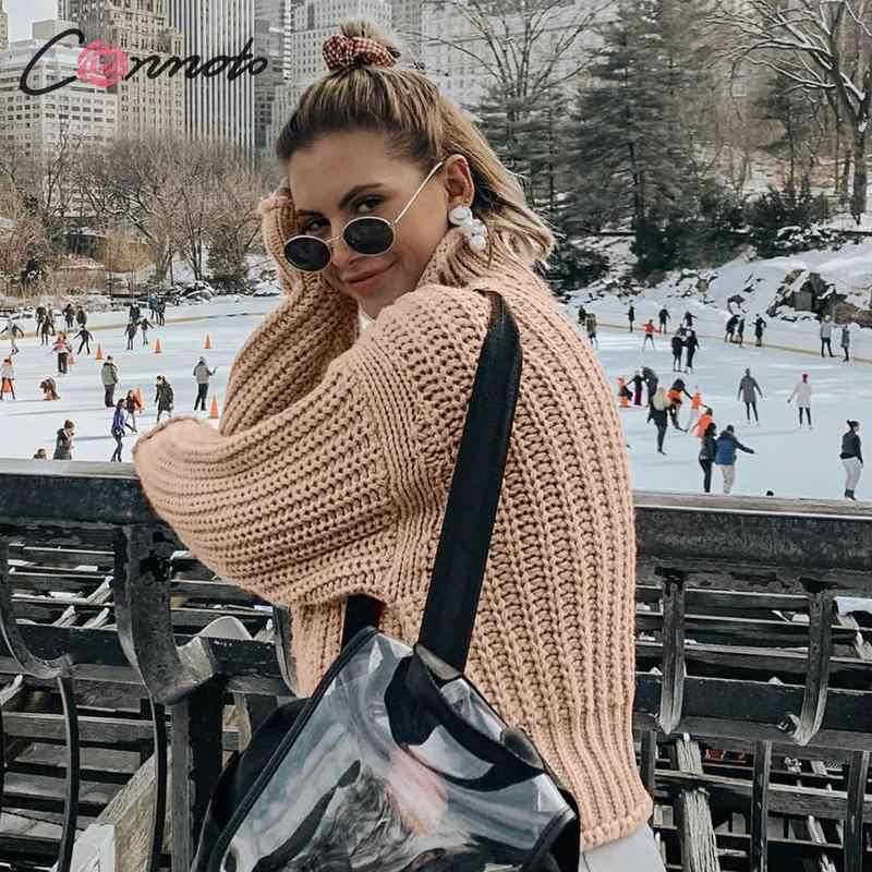 Conmoto kış kazak örme kazak kadın Casual kazak Jumper katı haki kadın balıkçı yaka kazak triko çekin Femme