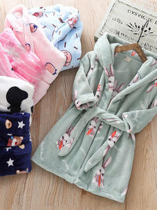 Bathrobe Towel Sleepwear Hooded Flannel Girl Toddler Winter Kids Boy Children's Cartoon