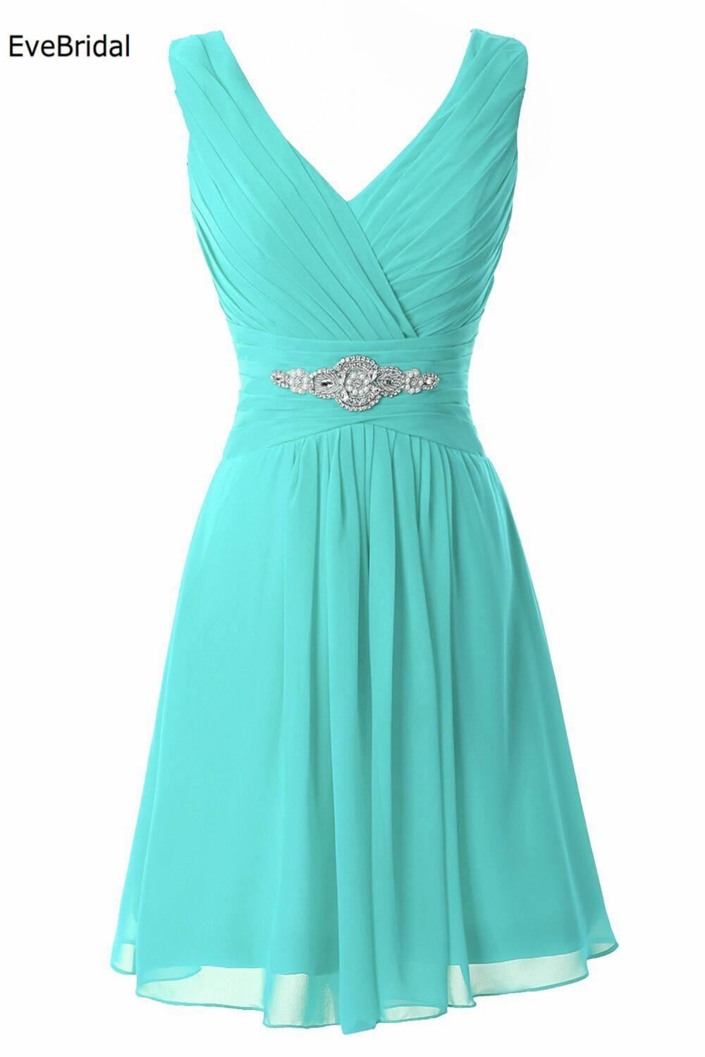 A line Chiffon Knee Length  V neck Crystals off shoulder bridesmaid dresses Wedding party dresses robe de soiree Zipper Back
